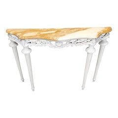 Vintage White Lacquered Beech Console with Marble Top, Italy