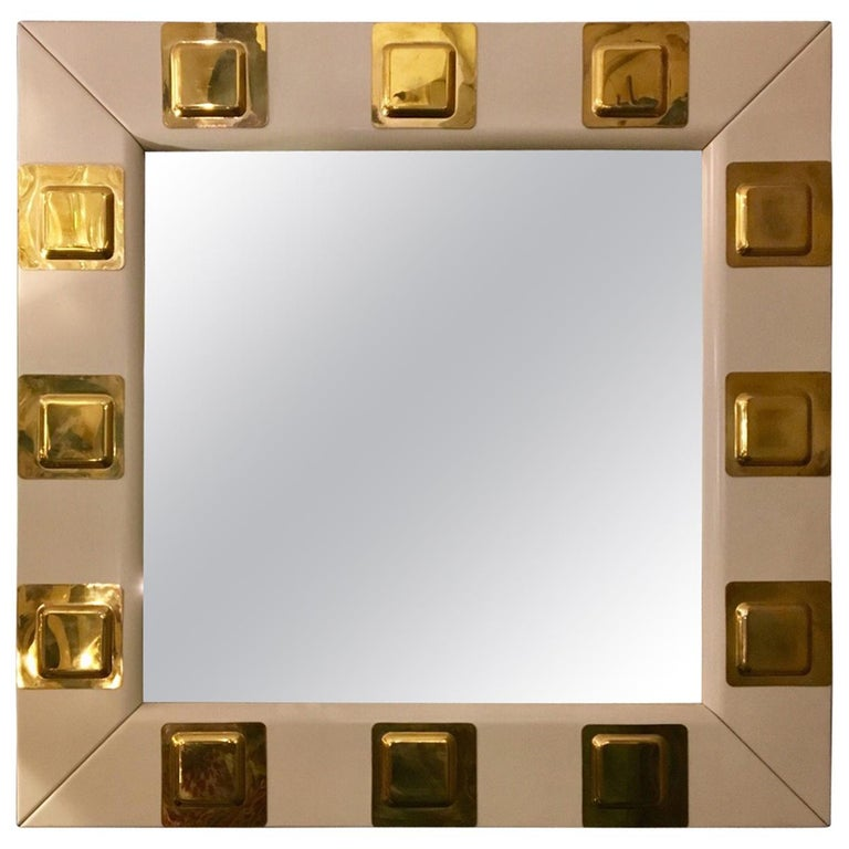 Vintage White Lacquered Wood And Brass Italian Square