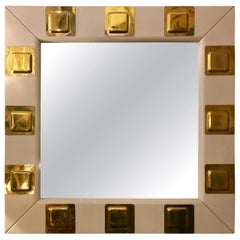 Vintage White Lacquered Wood and Brass Italian Square Mirror, 1970s