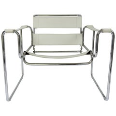 Vintage White Leather and Chrome Armchair, 1970s