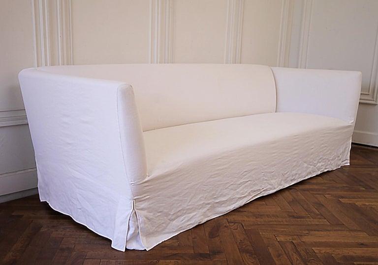 Magnificent Vintage White Linen Slip Covered Shelter Arm Modern Sofa At Uwap Interior Chair Design Uwaporg