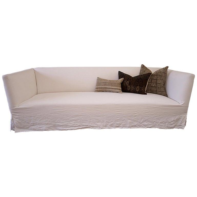 Awe Inspiring Vintage White Linen Slip Covered Shelter Arm Modern Sofa At Uwap Interior Chair Design Uwaporg