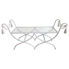 Vintage White Metal Italian Tole Tassel Bench, Newly Restored Indoor or Outdoor