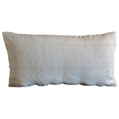 Vintage White on White Eyelet Lace Linen Bolster Decorative Pillow