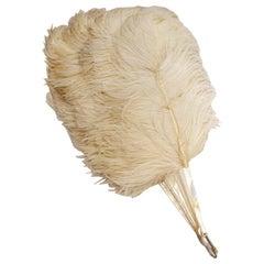 Vintage White Osstrich Feather Fan