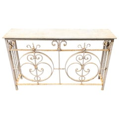 Vintage White Painted Iron Stone Top Garden Console