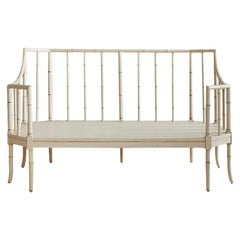 Vintage White Painted Sofa Bench in Faux Bamboo, France, 1940s