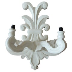 "Vintage White Plaster ""Flor de Lis"" Wall Sconce after Dorothy Draper Style"
