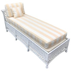 Vintage White Wicker Chaise Lounge