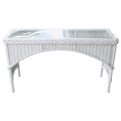 Vintage Arch shaped White Wicker Console