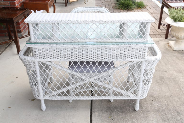 Vintage White Wicker Dressing Table & Chair For Sale 6