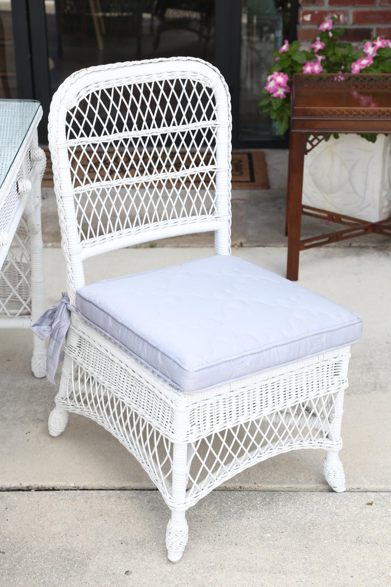 20th Century Vintage White Wicker Dressing Table & Chair For Sale
