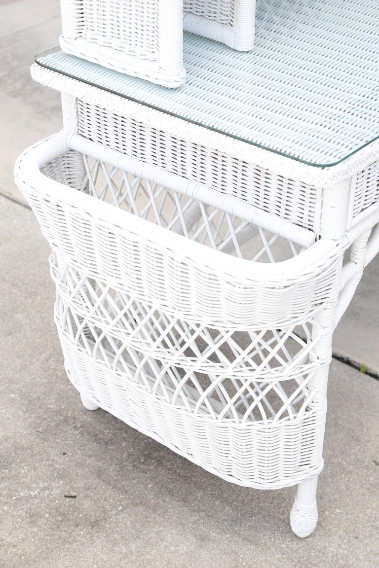 Vintage White Wicker Dressing Table & Chair For Sale 1