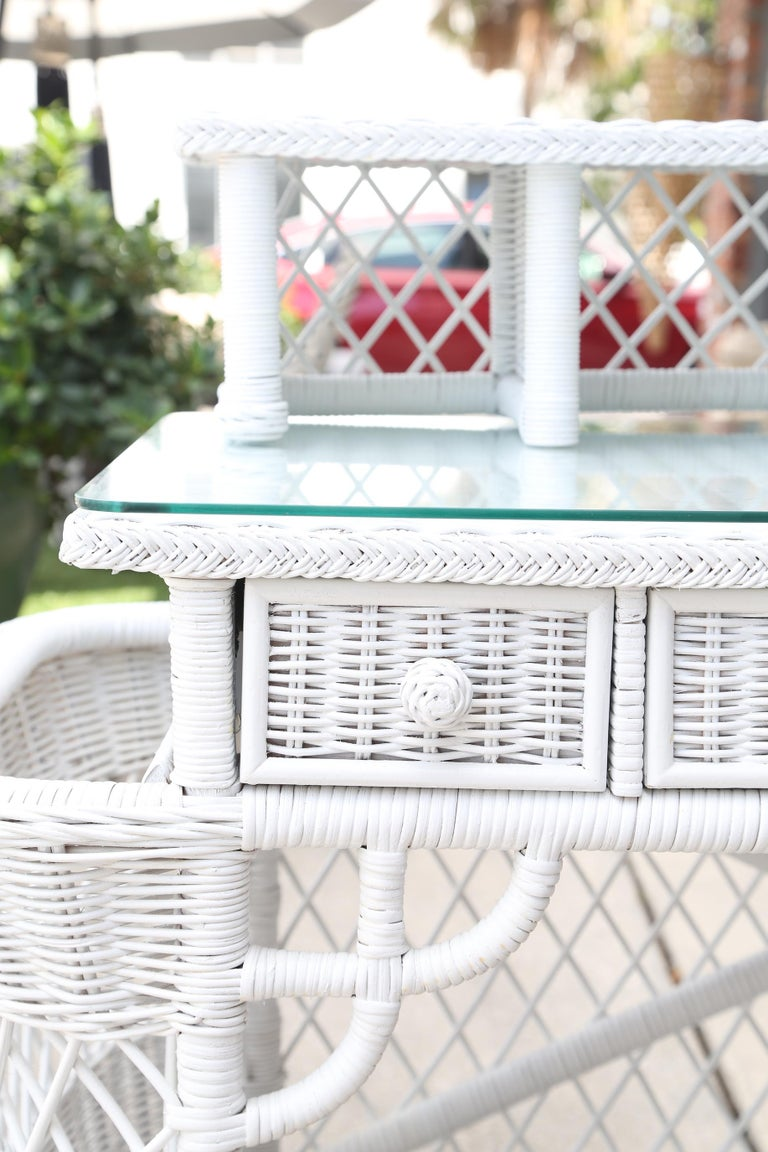 Vintage White Wicker Dressing Table & Chair For Sale 4