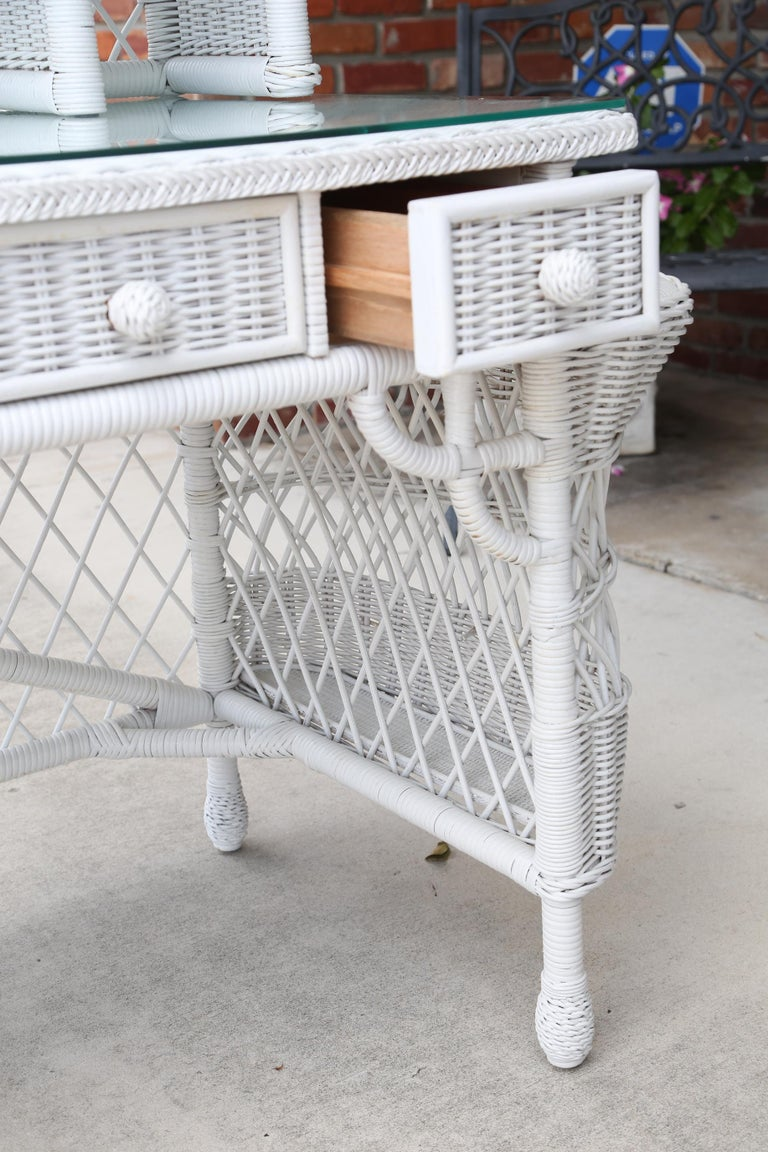 Vintage White Wicker Dressing Table & Chair For Sale 5