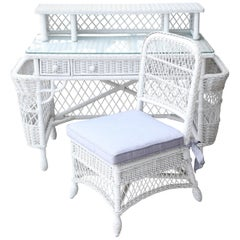 Vintage White Wicker Dressing Table & Chair