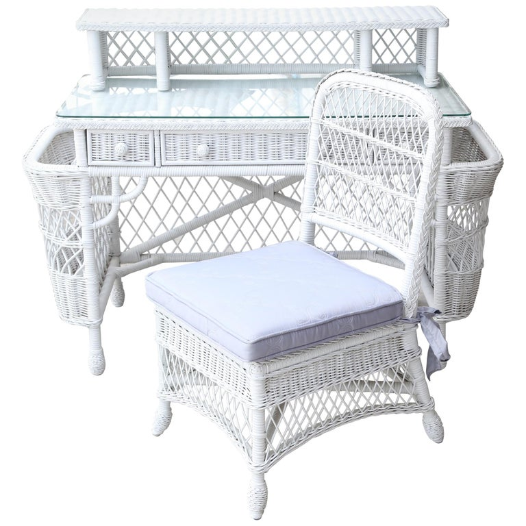 Vintage White Wicker Dressing Table & Chair For Sale