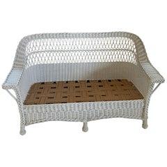 Vintage White Wicker Sofa