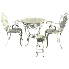 Vintage White Wrought Iron Round Bistro Table with Matching Armchairs