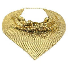 Vintage Whiting And Davis Disco Diva Chainmail Scarf Necklace 1970s