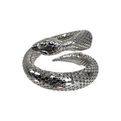 Vintage Whiting and Davis Silver metal mesh snake bracelet 1970s