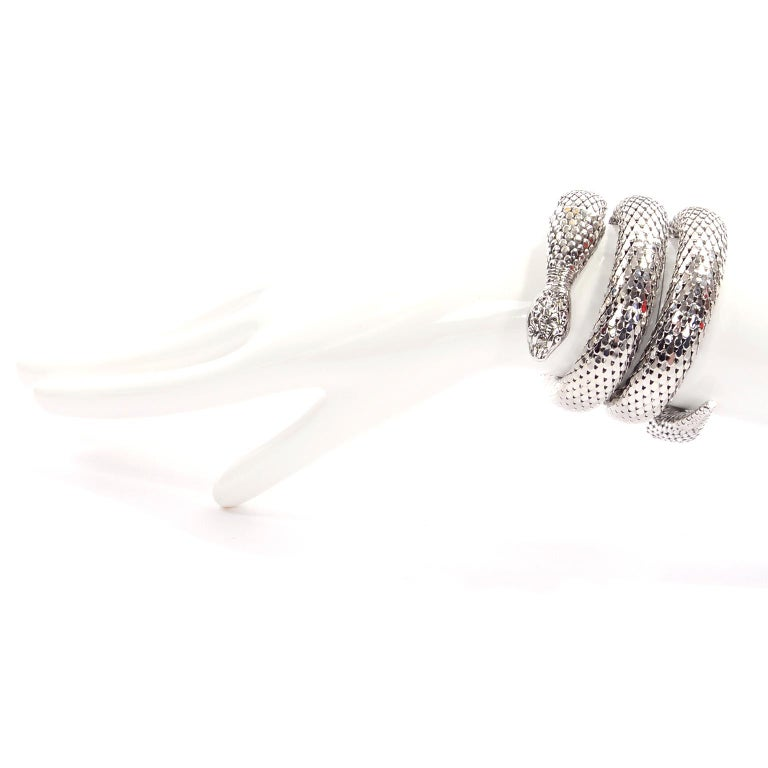 This is an outstanding vintage 1970's Egyptian revival silver mesh snake bracelet from Whiting & Davis.  This coiled snake bracelet was made by the masters of mesh, who were first known for their incredible mesh handbags.  We also have the same
