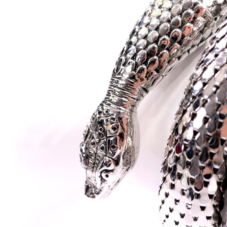 Women's Vintage Whiting & Davis 1970s Silver Mesh Coil Snake Bracelet