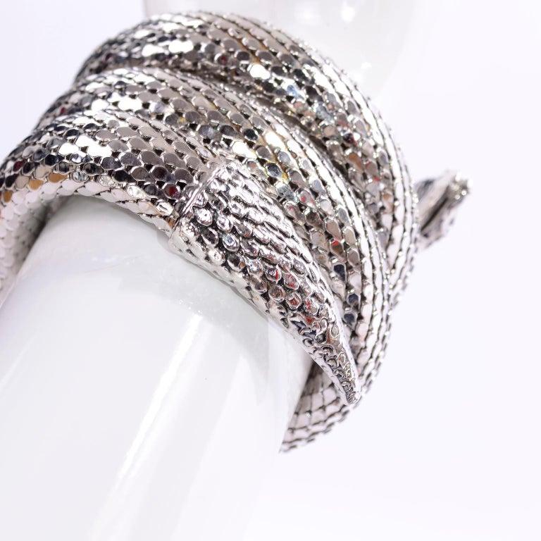 Vintage Whiting & Davis 1970s Silver Mesh Coil Snake Bracelet 2