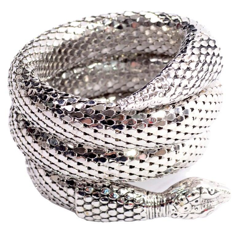 Vintage Whiting & Davis 1970s Silver Mesh Coil Snake Bracelet 3