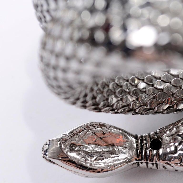 Vintage Whiting & Davis 1970s Silver Mesh Coil Snake Bracelet 4