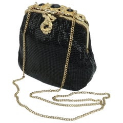 Vintage Whiting & Davis Black Mesh Evening Handbag