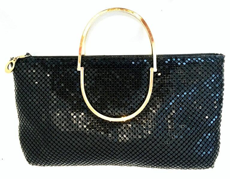 Vintage Whiting Davis Black Metal Mesh Gilt Brass Double Handle Hand Bag