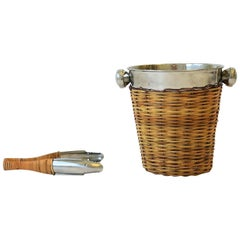 Vintage Wicker and Chrome Ice Bucket with Tongs