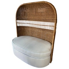 Vintage Wicker and Rattan Dome Hooded Loveseat Settee Chair Newly Upholstered