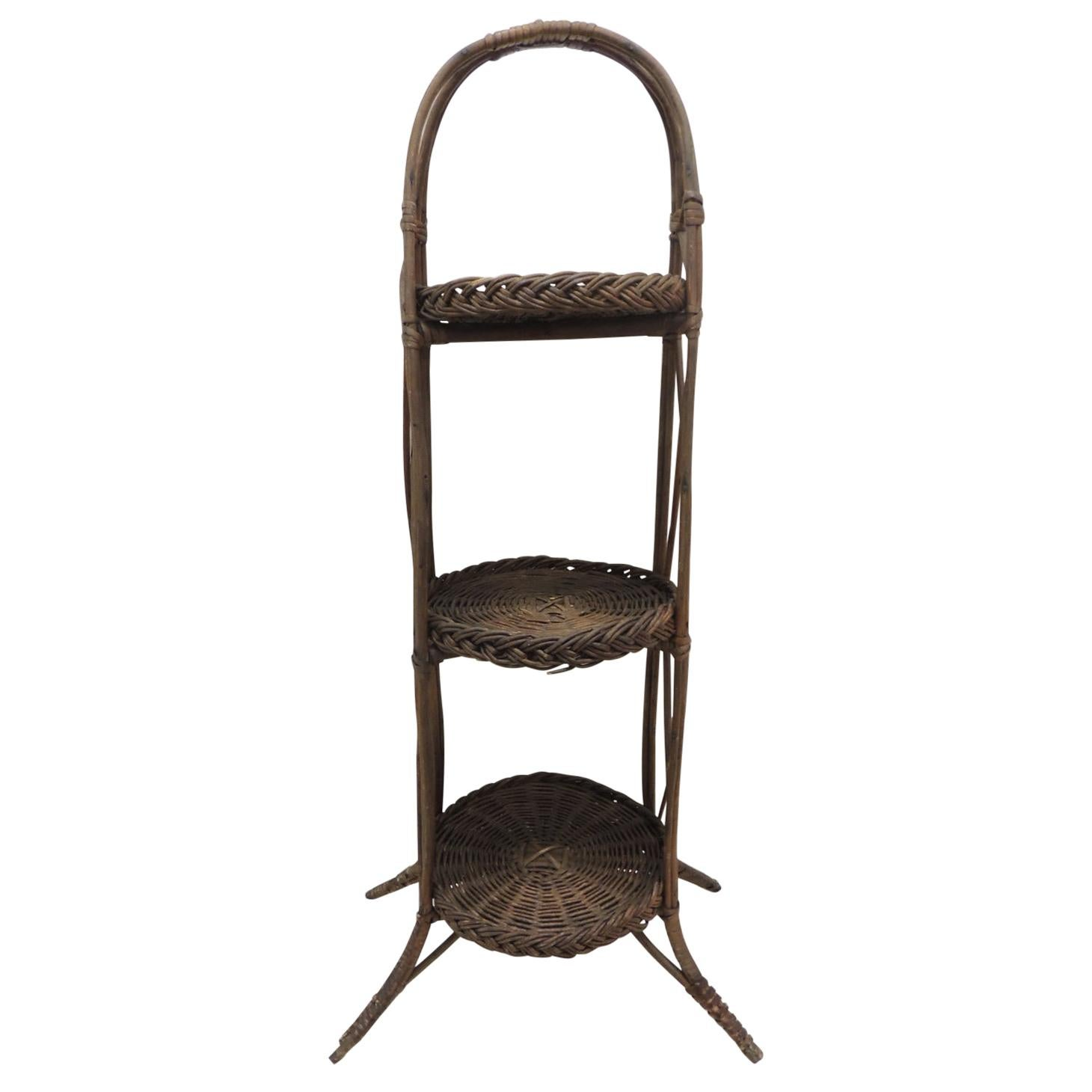 Vintage Wicker and Three-Tier Stand