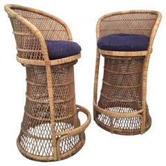 Vintage Wicker Bar Stools, a Pair