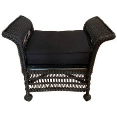 Vintage Wicker Bench or Footstool in Black Finish