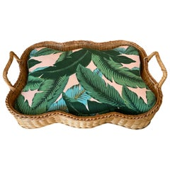Vintage Wicker Dog Pet Bed Tropical Leaf Upholstery Large