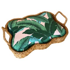 Vintage Wicker Dog Pet Bed Tropical Leaf Upholstery Small