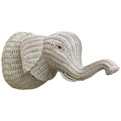 Vintage Wicker Elephant Head Mount