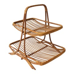 Vintage Wicker Etagere Table Stand