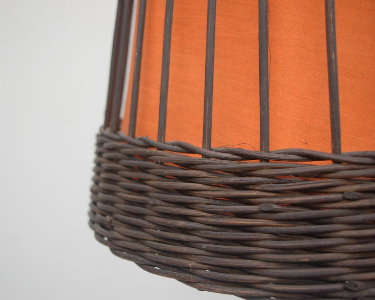 Mid-Century Modern Vintage Wicker Floor Lamp with Original Fabric, 1960s For Sale
