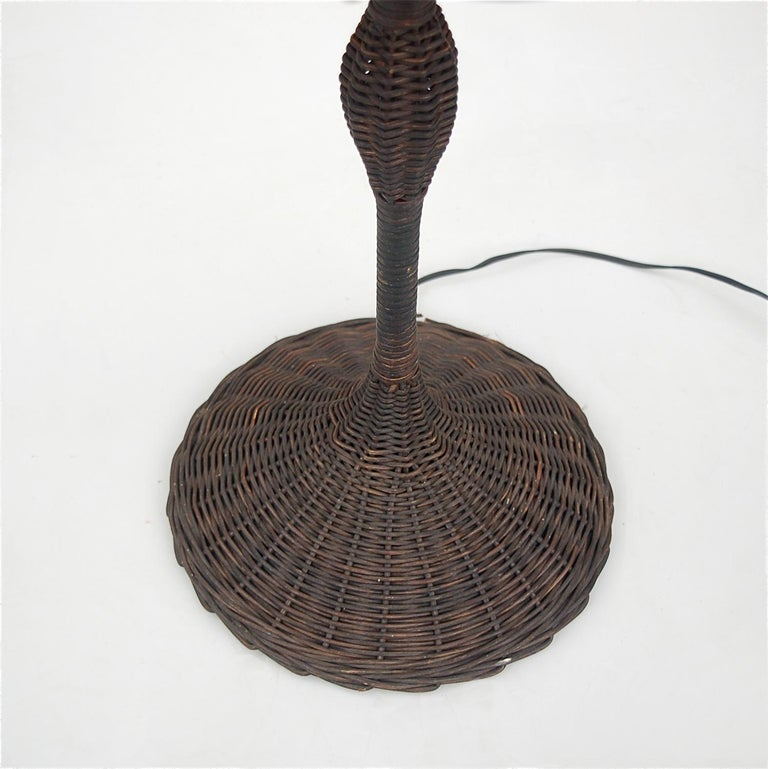 Belgian Vintage Wicker Floor Lamp with Original Fabric, 1960s For Sale