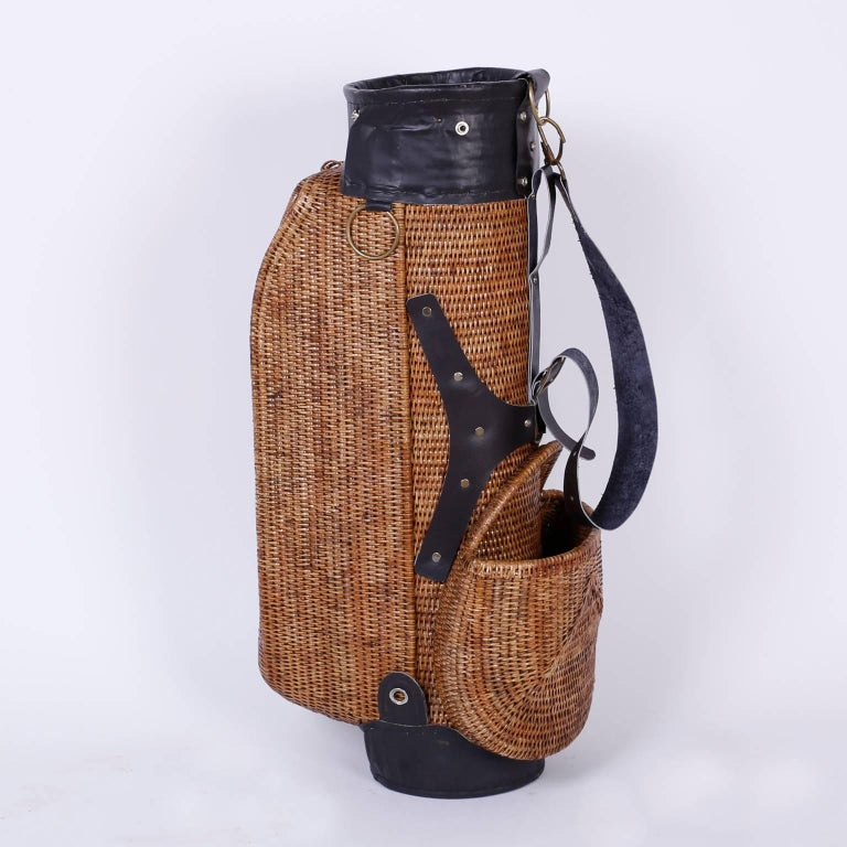 British Colonial Vintage Wicker Golf Bag For Sale