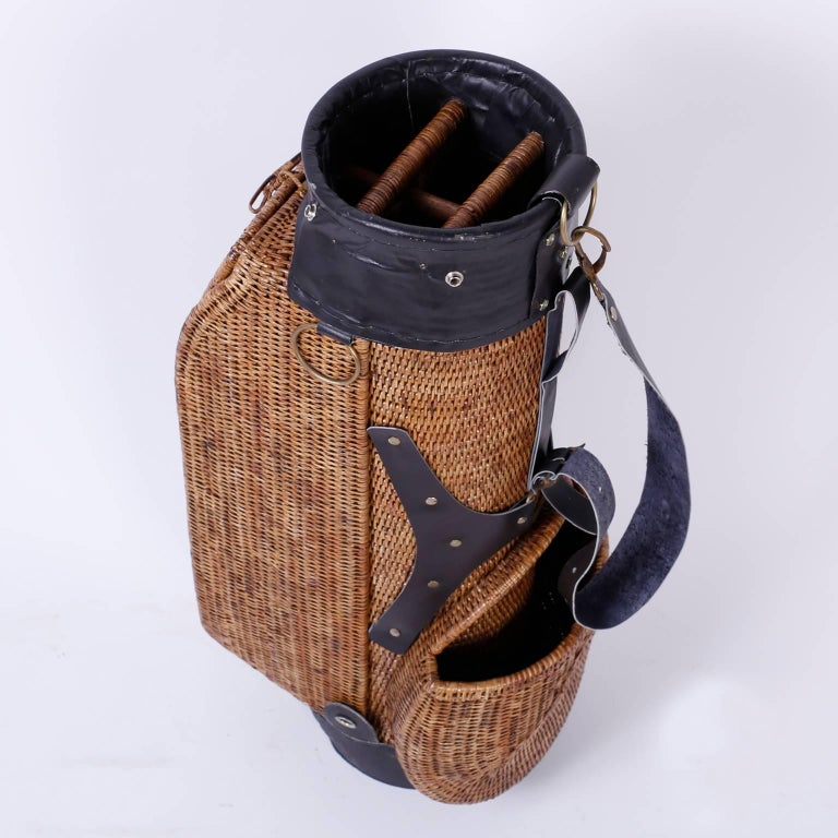 American Vintage Wicker Golf Bag For Sale