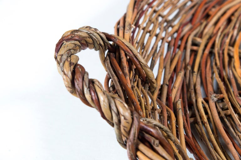 French Vintage Wicker Grape Basket, France, circa 1950 For Sale