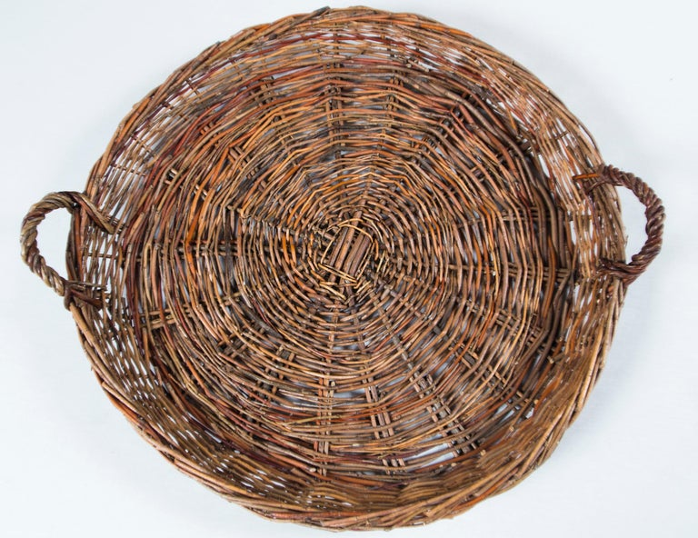 Willow Vintage Wicker Grape Basket, France, circa 1950 For Sale