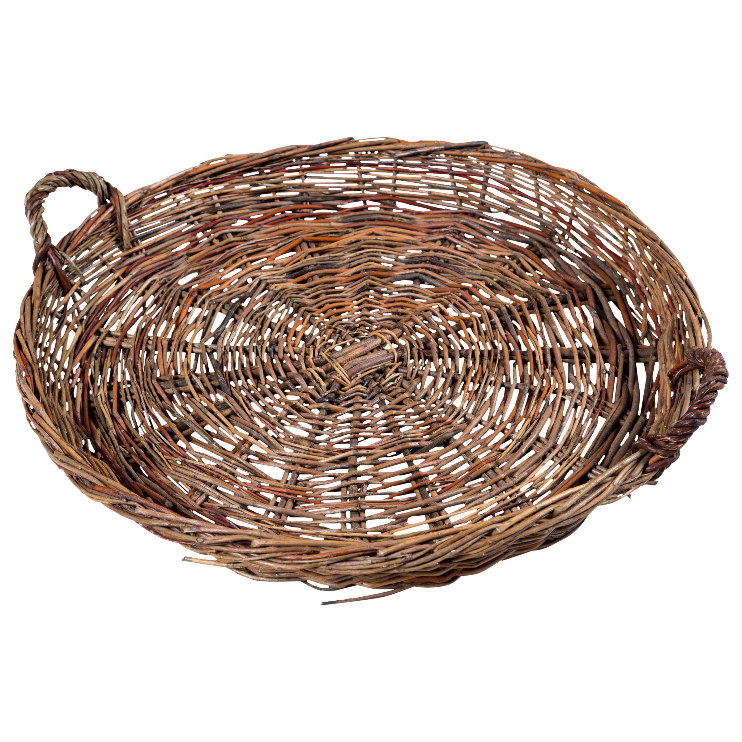 Vintage Wicker Grape Basket, France, circa 1950