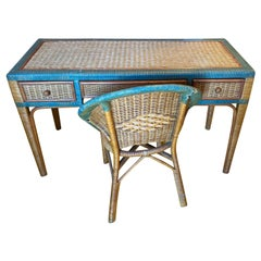 Vintage Wicker Hand Painted Desk and Chair