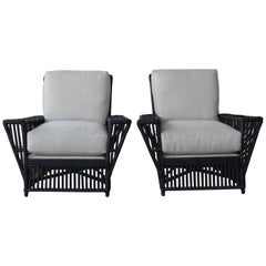 Vintage Wicker Lounge Chairs, France, 1930s